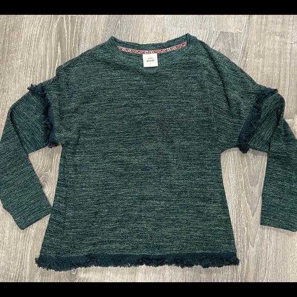 Knox Rose EUC Green Sweater Fringe Sleeves